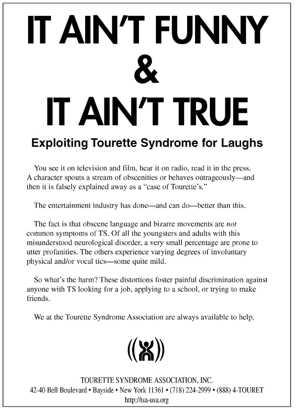 Tourette's Syndrome Myth Poster - Expoliting Tourette's Syndrome for Laughs